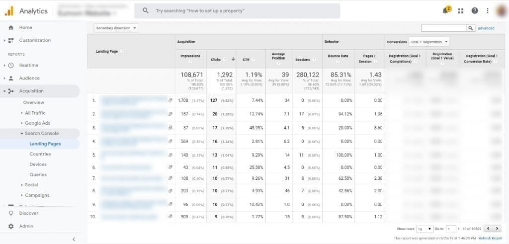 Google Analytics Acquisition Reports Google Search Console