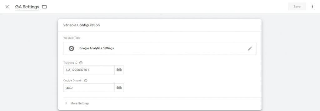 Google Analytics Settings Variable in Google Tag Manger