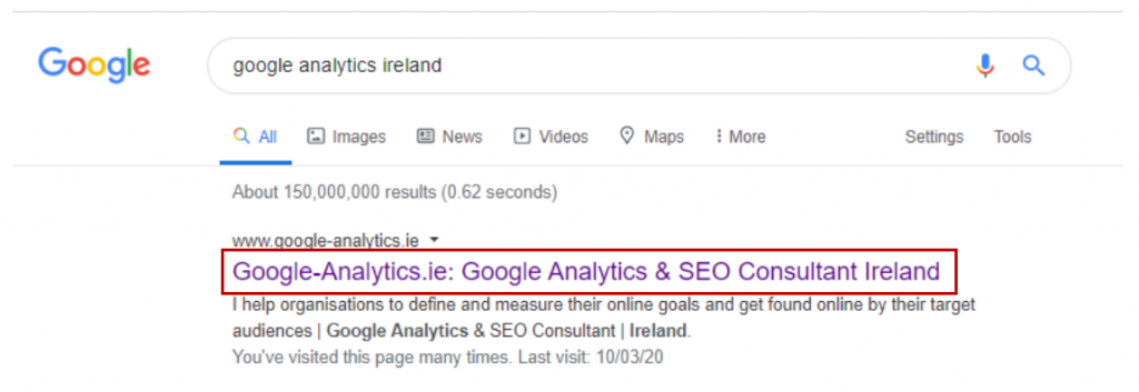 On Page SEO - Page Titles on the SERP